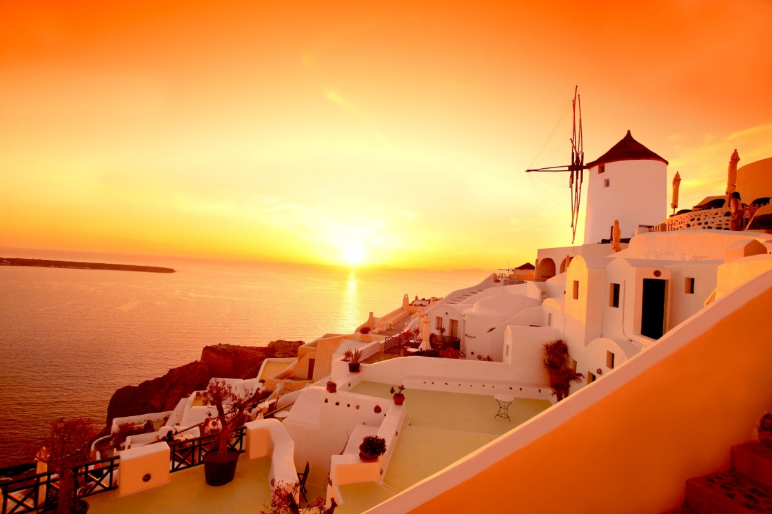 'Santorini with famous windmill in Greece, Oia village' - Santorini
